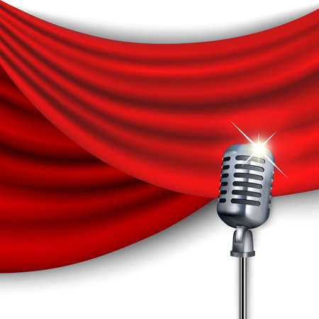 Microphone on a background of red curtains. Clipping Mask. Mesh.