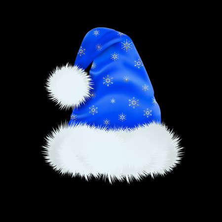 Blue Santa Claus hat with the pattern of silver snowflakes . Mesh. Ilustracja