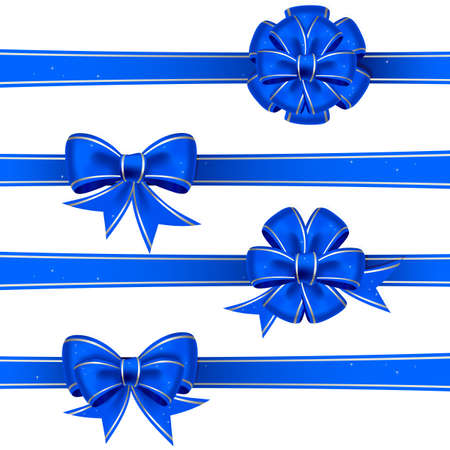 Set from blue christmas bows