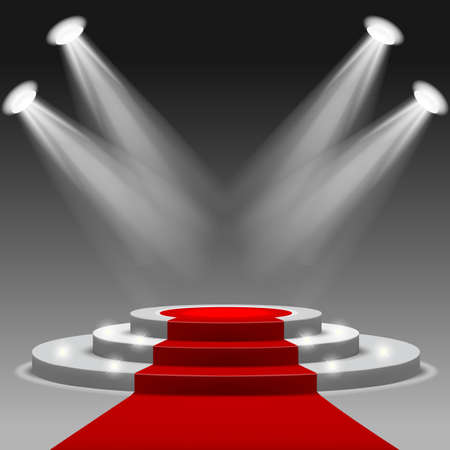 Red carpet with pedestal Mesh.This file contains transparency Ilustracja