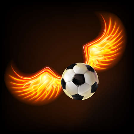 Soccer ball with burning wings.Mesh.This file contains transparency.