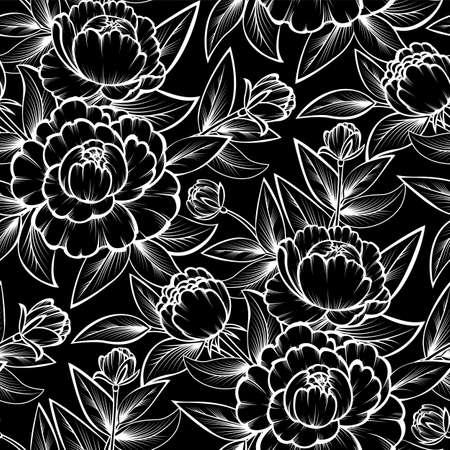 Seamless with black and white roses Ilustracja