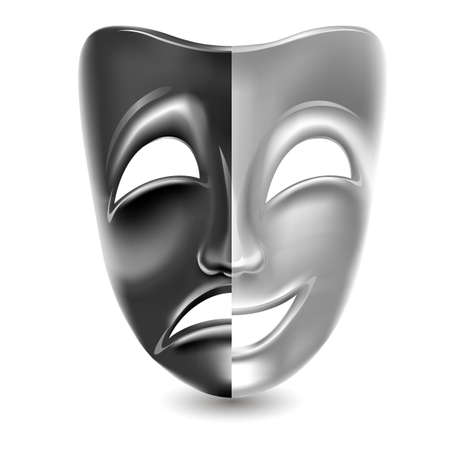 Theatrical masks. Black and white. Isolated. Mesh. Clipping Mask
