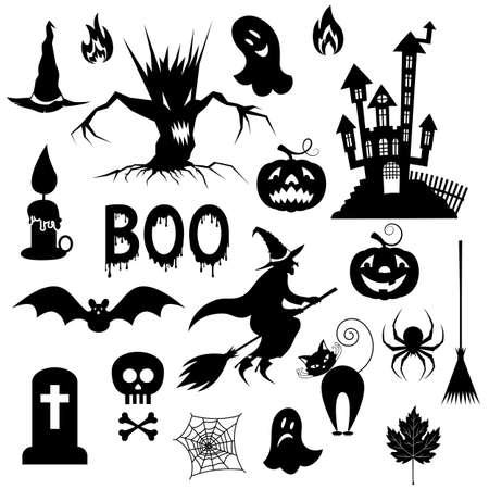 Conjunto, de, siluetas, para, el, fiesta, halloween., Blanco y negro