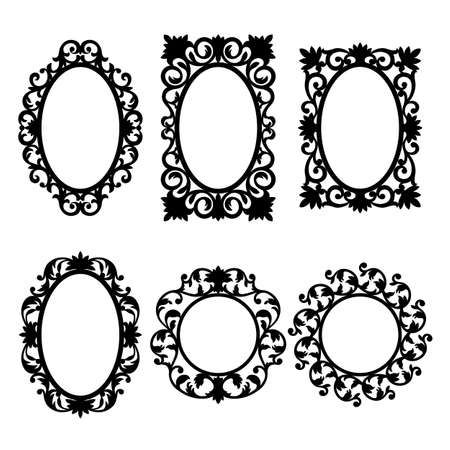 Mirror frames. Black and white. Isolated.