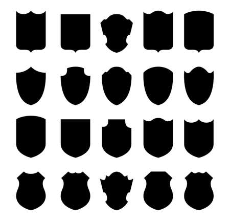 Set of shields on a white background. Vectores