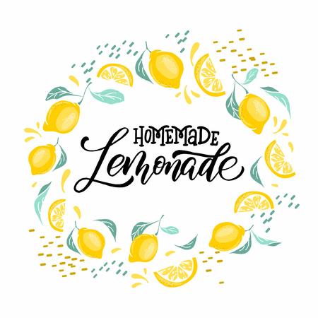 Lemonade lettering with lemon label. Brush calligraphy of word lemonade.