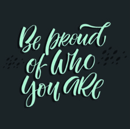 Be proud of who you are quote hand drawn vector lettering. Doodle lifestyle phrase, slogan illustration. Leave comfort zone. Inspirational, motivational poster, banner  イラスト・ベクター素材