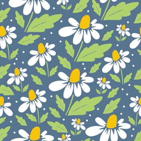 Pattern with daisies on a blue background Vectores
