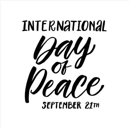 International Day of Peace vector hand lettering on white background Vectores