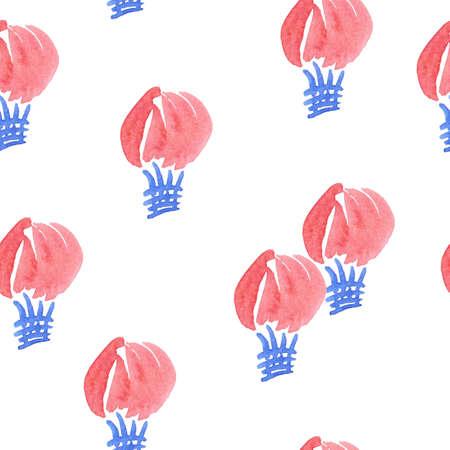 ultramarine blue: Seamless air balloon pattern in watercolors