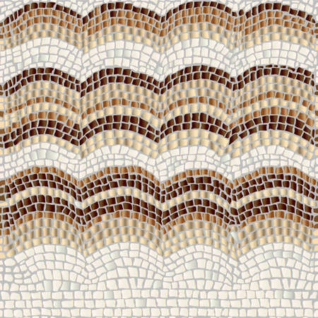 Three beige and brown waves on a light background imitate form of antique stone mosaic. Vetores