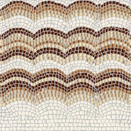 Tres olas beige y marrón sobre un fondo claro imitan forma de mosaico de piedra antigua.