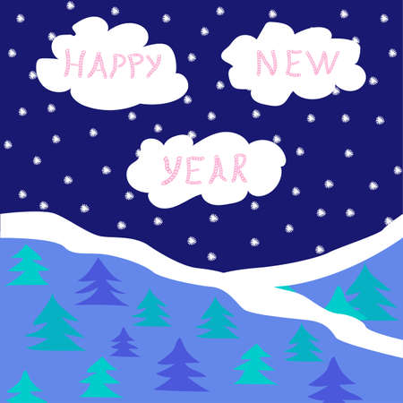 pink hills: New Years card with night sky, clouds and spruce forest. Vector illustration