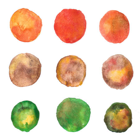 green brown: The circles are drawn in brown,yellow, orange, green watercolors like autumn leaves. Stock Photo