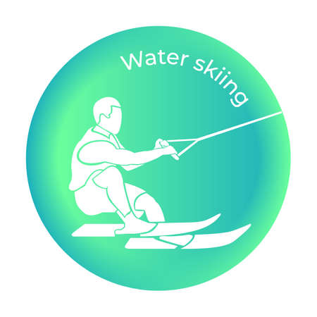 Water skiing icon in vector. Vector illustration
