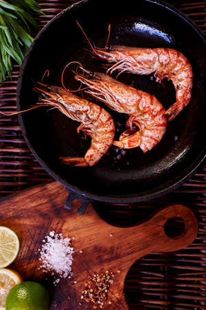 unusually: Cook fashionable expensive restaurant seafood served unusually Shrimps