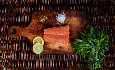 marinate: Fresh raw salmon steak cook, marinate ready for cooking it on the grill
