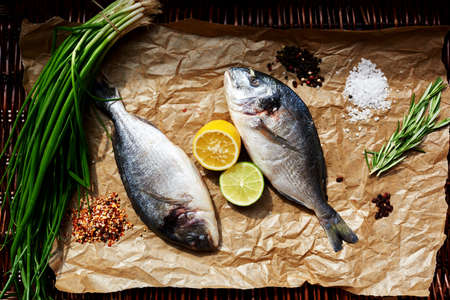 gilthead: Fishermen brought in fish market, the morning catch two small Dorada