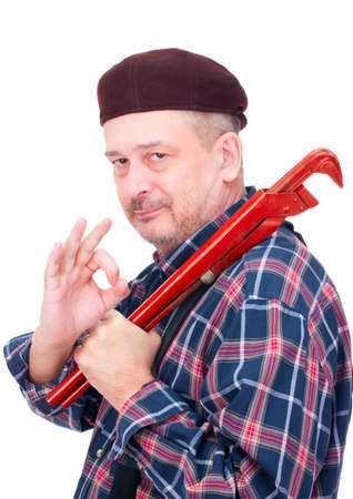 Happy professional master, isolated on white Stock Photo - 10487544