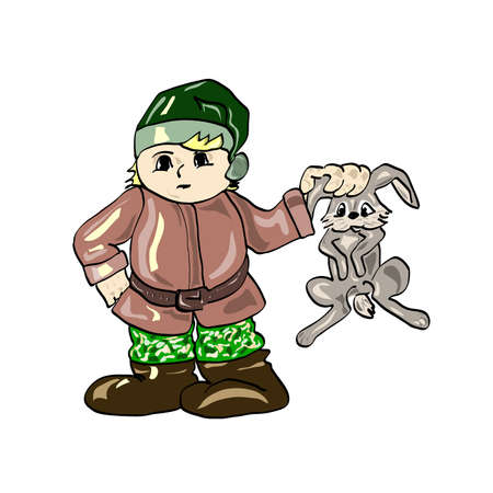 wildlife shooting: hunter with rabbit Illustration