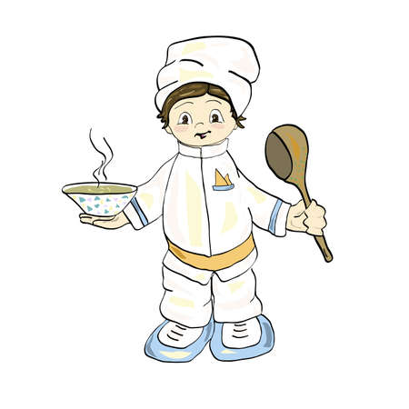 Little cook holding a plate and ladle.