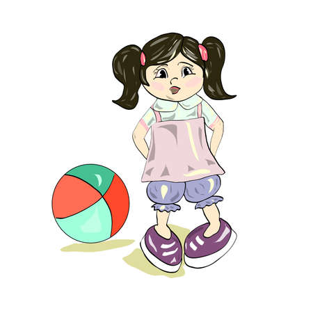 mixed race children: Little girl with a ball in the street. Vector.