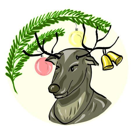 Deer Santa Vector