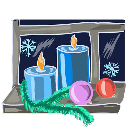 window sill: Christmas candles and Christmas decorations on a window sill