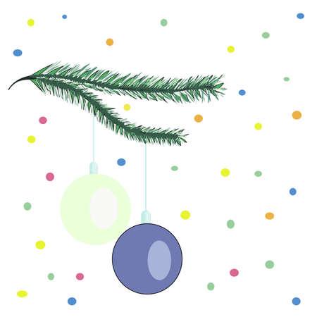 heading the ball: Christmas toys on fir branch