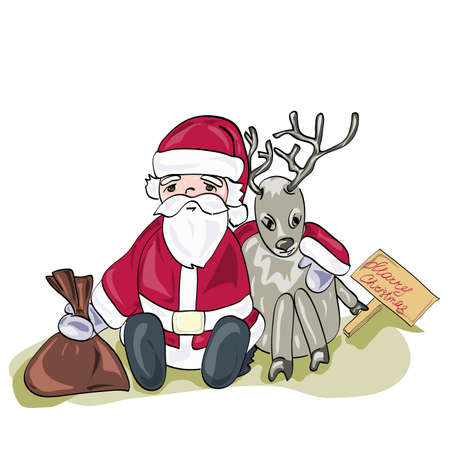 Santa Claus with Christmas deer and a bag of gifts. Christmas picture.