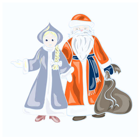 snow maiden: Santa Claus and his granddaughter from Russia