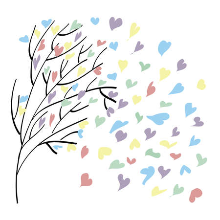With wood flies leaves in the form of colorful hearts on Valentines Day Vector