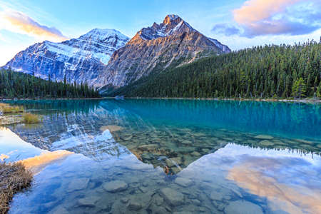 Edith Cavell Lake in Jasper National Park, Alberta, Canada Stock Photo