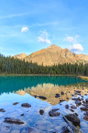 edith: Edith Cavell Lake in Canadian Rockies, Alberta, Canada