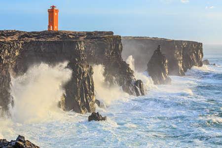 Orange Lighthouse in West Iceland photo