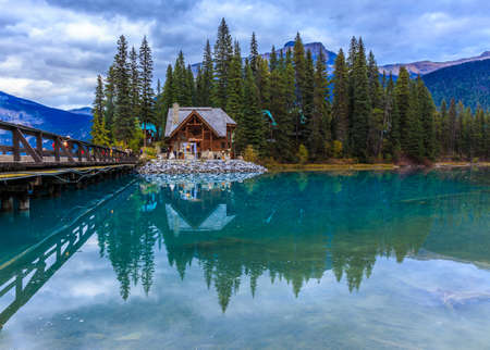 lodges: Emerald lake Stock Photo