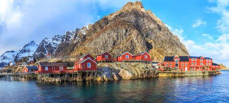rorbu: Reine fishing village in Lofoten, Norway Stock Photo