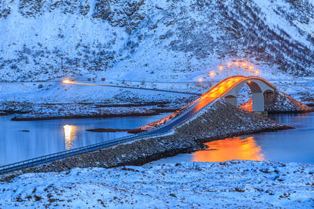 lofoten: Bridge in Lofoten Islands Stock Photo
