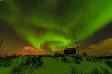 aurora borealis: Aurora Borealis in winter, Lofoten, Norway Stock Photo