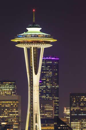 seattle: Space Needle at night in Seattle, Washington State, USA