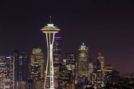space needle: Space Needle at night in Seattle, Washington State, USA