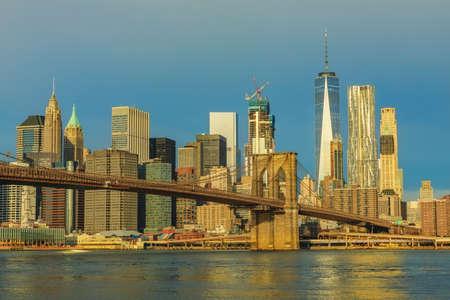 city of sunrise: View to Manhattan from Brooklyn Bridge Park at sunrise