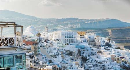 Beautiful town Thira in Santorini island