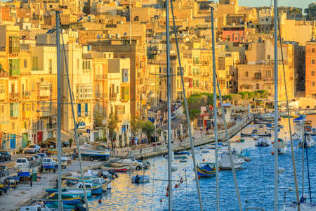 View to Grand Harbor from Birgu city at sunrise Reklamní fotografie - 82051684