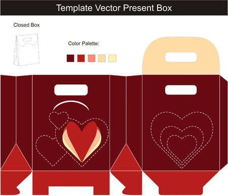Template for present box with die-cut hearts Vector