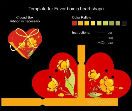 Die cut favor box. Floral pattern. Stock Vector - 13699953