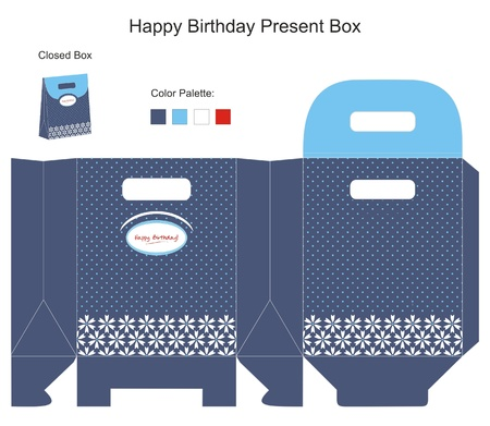 Blue and White Present Box Vector