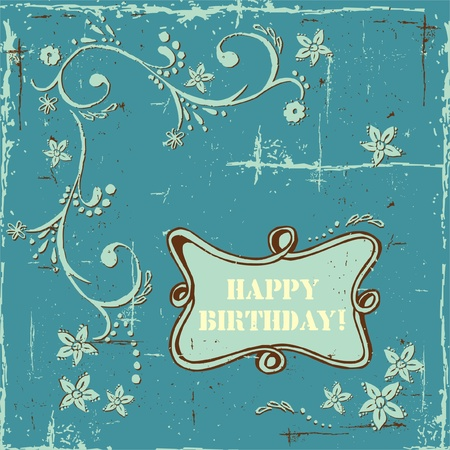 Blue grunge background. Shabby chic style. Vector