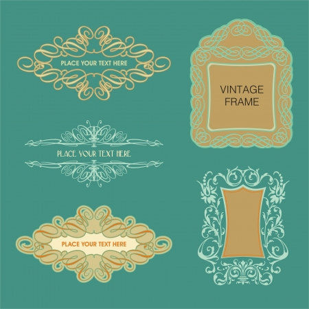 Sets of Vintage Calligraphy Frames Vector